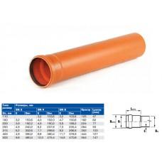 Труба канализационная наружная НПВХ SN4 110х3,2х1000 (ХЕМКОР)